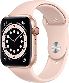New AppleWatch Series 6 (GPS + Cellular, 44mm) - Gold Aluminum Case with Pink Sand Sport Band