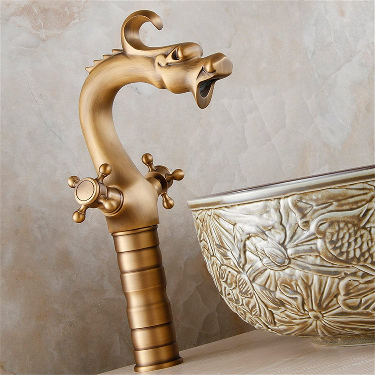 SADASD European Bathroom sink faucet All Copper kitchen faucet Retro Double Handle Dragon Art Hot and Cold Water Basin Mixer Taps With G1 2 Hose