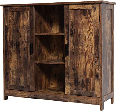 IWELL Floor Storage Cabinet with 2 Doors and 2 Open Shelves, Wooden Medical Cupboard, Buffet Sideboard, Farmhouse Free Standi