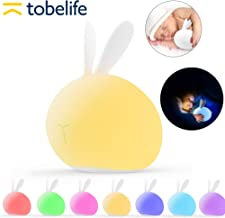 tobelife Baby Night Lights,Nursery Lamp,Soft Silicone LED Lamp for Kids,Toddler Night Light,Cute Rabbit Nightlights for Children,Birthday Gifts for Girls-Touch Sensor Control