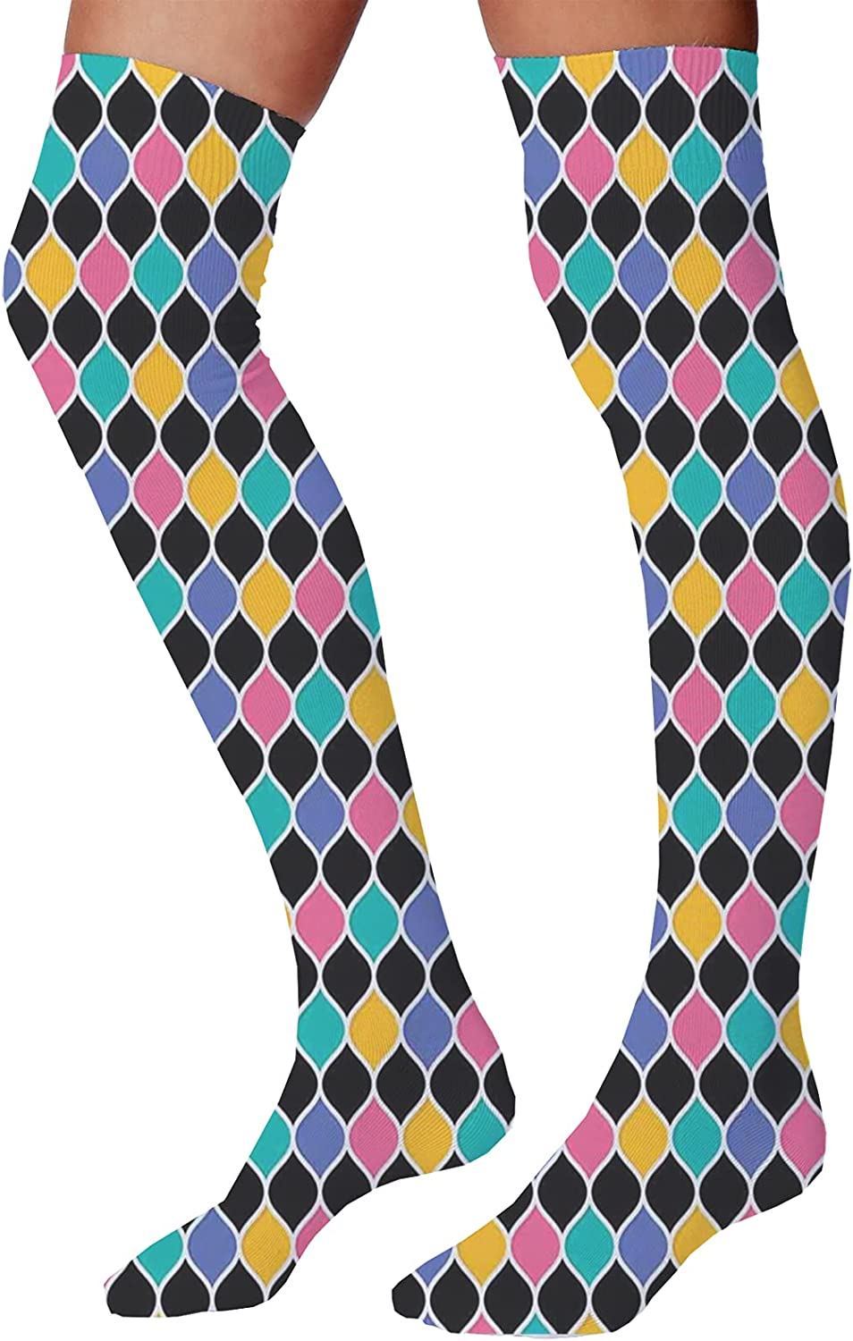 Men's and Women's Fun Socks,Abstract Design of Interlinked Ogee Pattern with Bold White Borders Shaded Effect