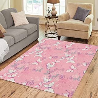 Pinbeam Area Rug Purple Girl Pretty Pink Micro Boho Butterfly Floral Home Decor Floor Rug 5' x 7' Carpet