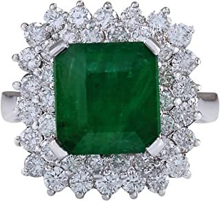 5.42 Carat Natural Green Emerald and Diamond (F-G Color, VS1-VS2 Clarity) 14K White Gold Luxury Engagement Ring for Women Exclusively Handcrafted in USA