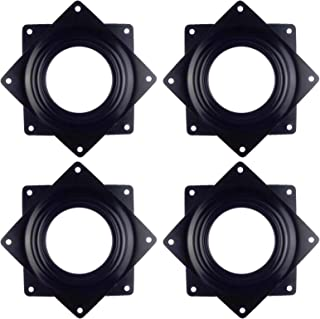 Kasteco 4 Pack Lazy Susan Turntable, 5/16 Inch Thick 100 LB Capacity (Black, 3.7 inch)