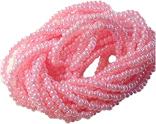 Pink Ceylon Pearl Czech 6/0 Seed Bead on Loose Strung 6 String Hank Approx 900 Beads