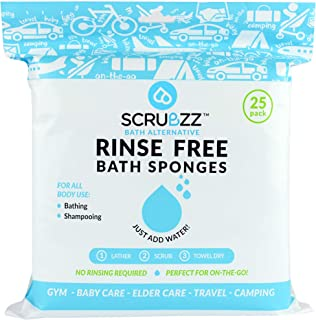 Scrubzz Disposable No Rinse Bathing Wipes - 25 Pack - All-in-1 Single Use Shower Wipes, Simply Dampen, Lather, and Dry Wit...