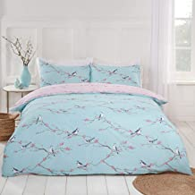 Dreamscene Blossom Bird Reversible Floral Quilt Duvet Cover with Pillowcase Bedding Set, Duck Egg Blush - Single