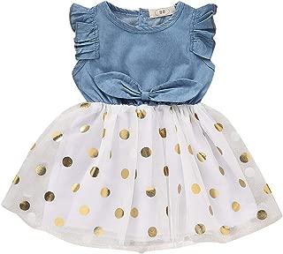 Baby Toddle Girls Tutu Dress Short Sleeves&Sleeveless Stripe Tulle Skirts A-line Dress