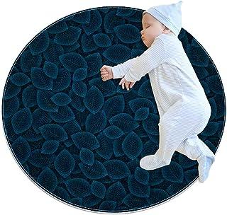 Marinblå blad, barn rund matta polyester överkast matta mjuk pedagogisk tvättbar matta barnkammare tipi tält lekmatta