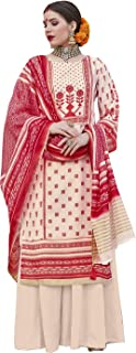 Appealing Cream & Red Palazzo Style Suit
