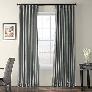 Half Price Drapes PTCH-BO112-108 Blackout Faux Silk Taffeta Curtain, Platinum
