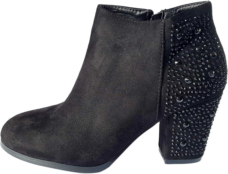 Bellatotti Women's Black Ankle Boot Cozy Heeled Winter Dress Booties