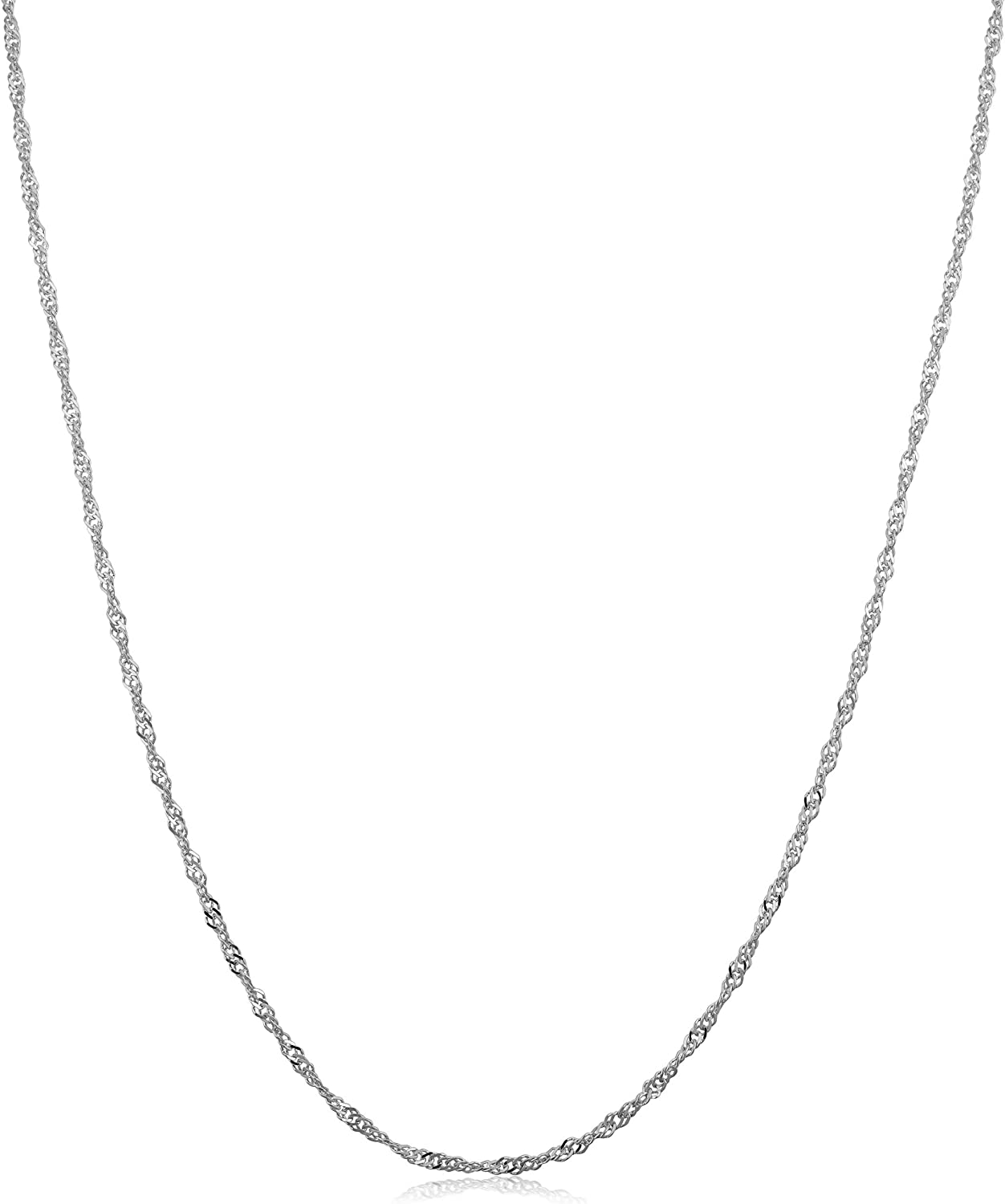 Direct sale of manufacturer Kooljewelry 14k White Gold Singapore Chain 1 0.7 mm Ranking TOP2 Necklace m