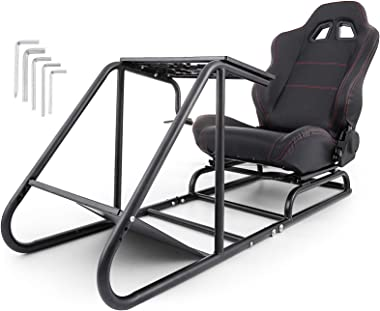 VEVOR Driving Simulator Seat Adjustable, Racing Simulator Seat with Gear Shifter Mount, Driving Gaming Seat fit for Logitech