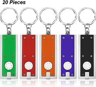 20 قطعة مصباح يدوي صغير سلسلة مفاتيح 5 لمبات LED للتخييم هدايا الحفلات للأطفال