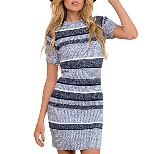 94539a2305d Mansy Womens Knitted Sweater Dress Short Sleeve Pullover Mini Jersey Dress