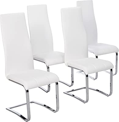 Amazon Com Faux Leather Dining Chairs Chrome And White Set Of 4 Furniture Decor