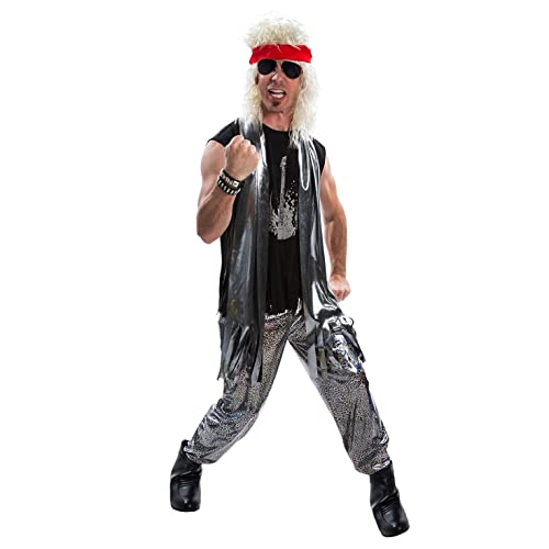 d83ea2a68b1c6 Mens 80s Glam Rock Costume Heavy Metal Rocker Big Hair 1980s Adult Fancy  Dress