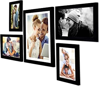 Art Street - Set of 5 Individual Black Wall Photo Frames Wall Hanging (Mix Size)(2 Units 5x7, 2 Units 6X10,1 Unit 10X12 inch)|| Free Hanging Accessories Included ||
