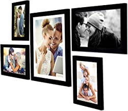 Art Street - Set of 5 Individual Black Wall Photo Frames Wall Hanging (Mix Size)(2 Units 5x7, 2 Units 6X10,1 Unit 10X12 in...
