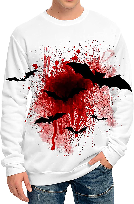 Men's Halloween Novelty Horror Sweatshirts Realistic 3D Print Pullover Unisex Casual Graphic Crew Neck Tshirts Tops