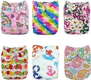 Alva Baby - 6 Pañales de tela con 12 absorbentes reutilizables, lavables a máquina 6DM18. Talla:All in one