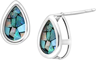 Natural Mosaic Blue Opal Teardrop Stud Earrings in Sterling Silver