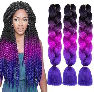 NATURAL BEAUTY 5Pcs 100g/Pcs Synthetic Fiber Braiding Hair Bundles Kanekalon Hair Ombre Twist Braid Hair Fiber Jumbo Hair Extensions 24inch(Black-Purple Red-Blue)