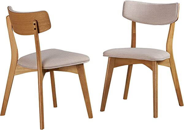 Christopher Knight Home 303367 Molly Mid Century Modern Light Beige Dining Chairs With Natural Oak Finished Rubberwood Frame Set Of 2