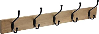AmazonBasics Wall-Mounted Farmhouse Coat Rack, 5 Standard Hooks, Barnwood