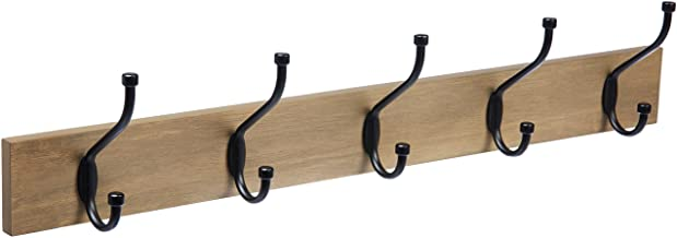 AmazonBasics 1005846-1027-A60 Wall-Mounted Farmhouse Coat Rack, 5 Standard Hooks, Barnwood, W 4.6 x H 2.8 x D 22.5 inch