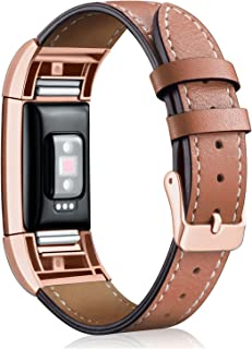 Replacement Leather Band Compatible for Charge 2, Classic Genuine Leather Wristband Metal Connector Watch Bands, Fitness Strap Women Men Small Large