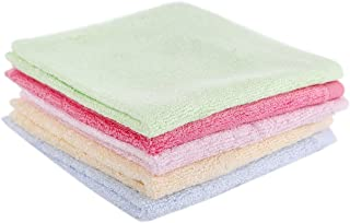 Taprilt Antibacterial 100% Bamboo, Washcloths, Face Cloths, Hypoallergenic Sensitive Skin Baby Wipes, Suitable for Kids, Set of 5, (Pink, Yellow, Green, Blue, Rose)