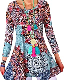 Howely Womens Floral Print Long Sleeve Swing Ethnic Style T-Shirt Tunic Tops
