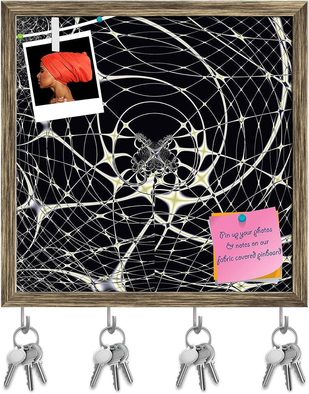 Artzfolio Elegant Fractal Design Spiderweb Key Holder Hooks   Notice Pin Board   Antique golden Frame 20 X 20Inch