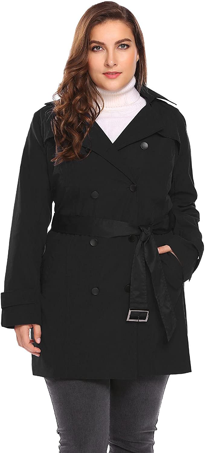 Dickin Women Plus Size Hooded DoubleBreasted Trench Coat with Belt
