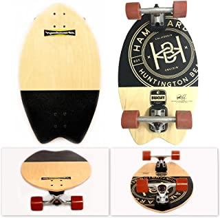 Hamboards Biscuit Handcrafted Campus Cruiser Longboard Skateboard for Pumping, Landsurfing & Land Paddling - Laminated Birch/Super Hard Bamboo