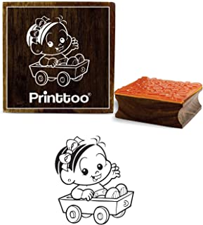 Printtoo Square Baby Girl Design Brown Wooden Rubber Stamps Craft Textile Baby Shower Stamps-2 x 2 Inches