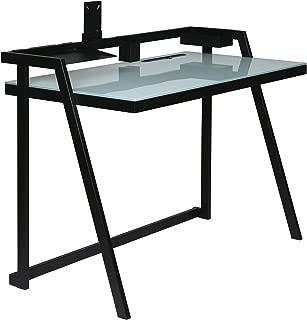 OneSpace 50-JN20DSK Tablet Desk with Aqua Glass Desktop and Black Metal Frame