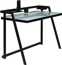 OneSpace Tablet Desk with Aqua Glass Desktop and Black Metal Frame