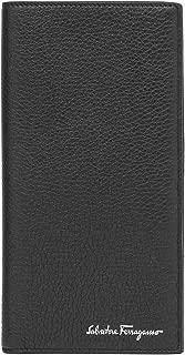 Men's Grained Leather Long Wallet Black