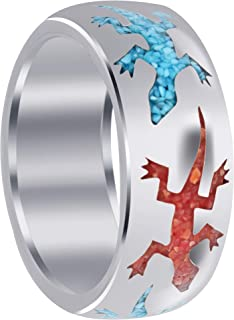 DECADENCE Sterling Silver Rhodium Mens Religious Figure /& Lizard CZ Ring