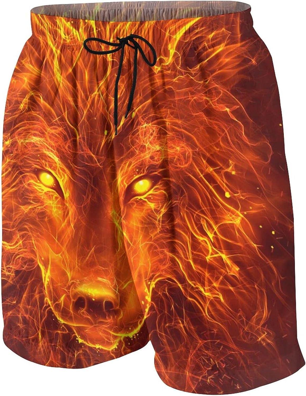Fire Wolf Head on The Dark Boys Swim Trunks Quick Dry Beach Board Swim Shorts Swimsuit Swimwear from 7T to 18