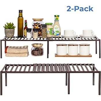 STORAGE MANIAC 2-Pack Expandable Kitchen Counter and Cabinet Shelf, Storage Rack Organizer for Kitchen, Cabinet, Bathroom, Bronze