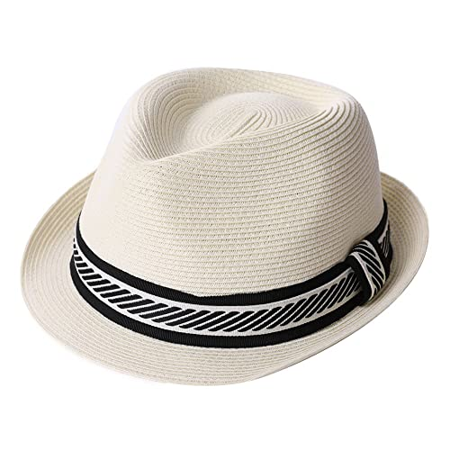 bc911beae44 Fedora Straw Fashion Sun Hat Packable Summer Panama Beach Hat Men Women  56-62CM