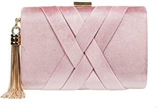 Crisscross Velvet Clutch Tassel Evening Purses And Handbags