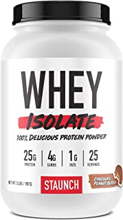 Staunch Whey Isolate 2 LBS (Chocolate Peanut Butter) - 25 Servings, Whey Protein Isolate