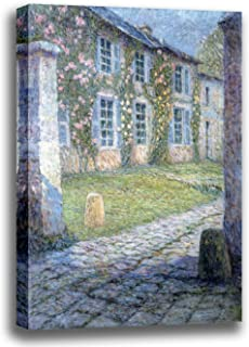 Canvas Print Wall Art - The Pink House at Versailles - by Henri Le Sidaner - Giclee Printed on Stretched Gallery Wrap - 12x15 inch