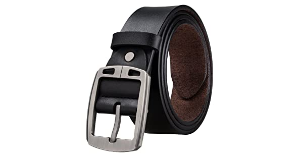 Hi-Tie Mens Leather Dress Belt with Single Prong Buckle Jeans Belts for Men 110cm BletC7, waist 34 to 37,