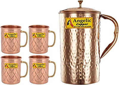 Angelic Copper Handmade Copper Jug with Designer Cup Set, Set of 4, Copper